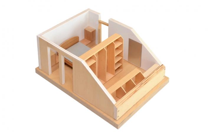 Schlafzimmer nach Maß. Das Modell erleichtert unserem Kunden, sich den möblierten Raum vorzustellen.