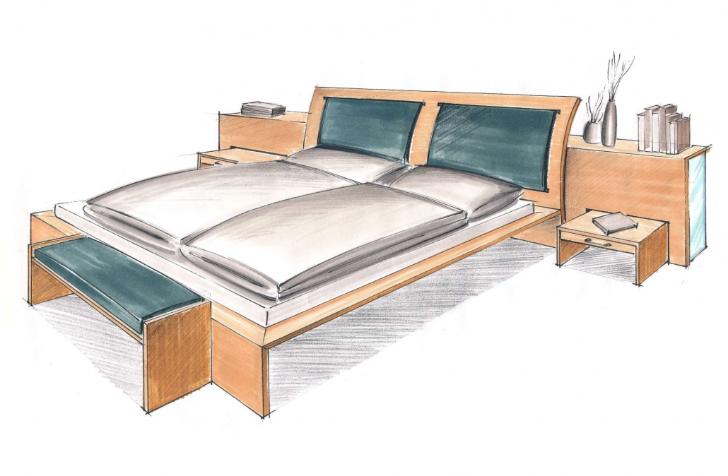 Entwurf für ein filigranes Massivholz-Doppelbett mit Ablage, Nachtkonsolen und Bettbank