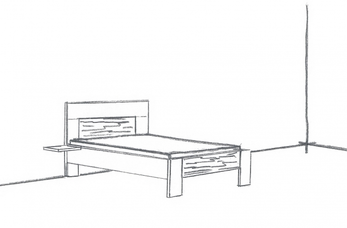 Skizze für ein individuell gefertigtes Einzelbett